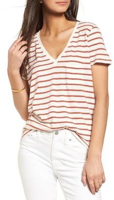 Women's Madewell Stripe V-Neck Tee $24.50 thestylecure.com