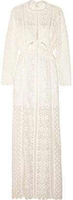 Self-Portrait Ruffled Cutout Guipure Lace Gown - White