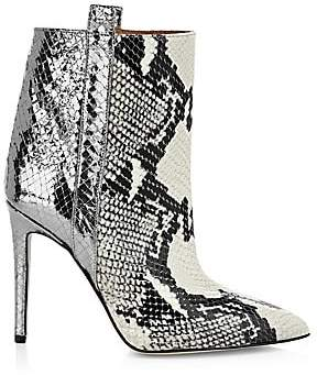 Paris Texas Women's Metallic Snakeskin-Print Leather Stiletto Booties