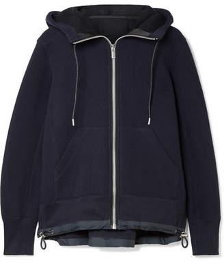 Sacai (サカイ) - Sacai - Shell-trimmed Cotton-blend Hooded Top - Midnight blue