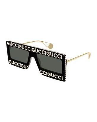 1d614abbe38e Gucci Men's Monochromatic Shield Sunglasses w/ Crystal Logo Front