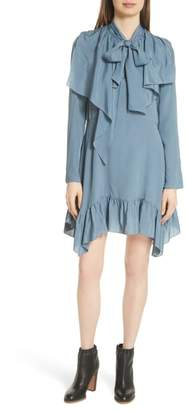 See by Chloe Tie Neck Ruffle Hem Dress