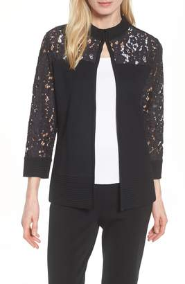 Ming Wang Lace Trim Jacket