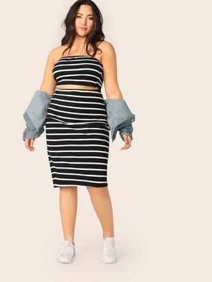 Shein Plus Striped Bandeau Top & Pencil Skirt Set