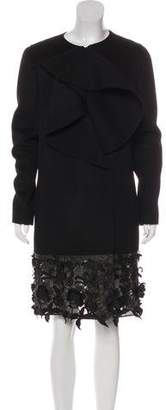 Valentino Leather-Trimmed Ruffled Coat
