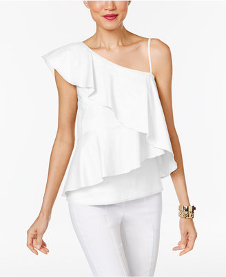 Marled One-Shoulder Tiered Blouse $60 thestylecure.com