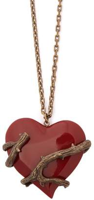 Saint Laurent Love Brass And Resin Necklace - Womens - Red