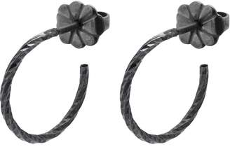 Myia Bonner Black Mini Diamond Hoop Earrings