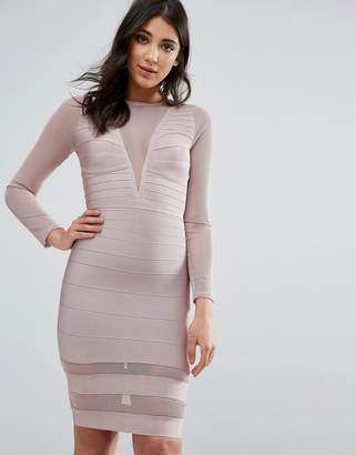 Missguided Purple Long Sleeve Mesh Insert Mini Dress