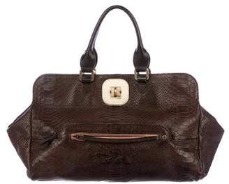 Longchamp Embossed Leather Satchel