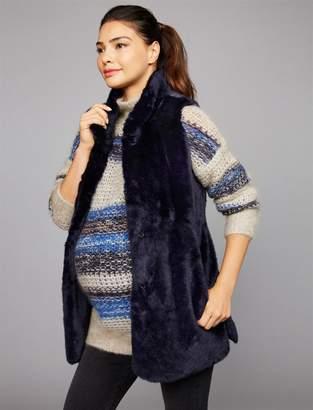 Tart Clip Front Faux Fur Maternity Vest