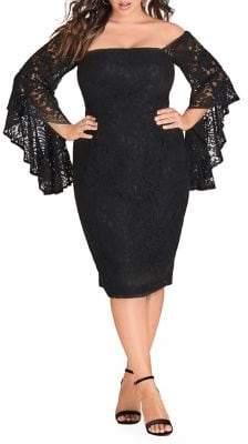 City Chic Plus Mystic Lace Knee-Length Dress