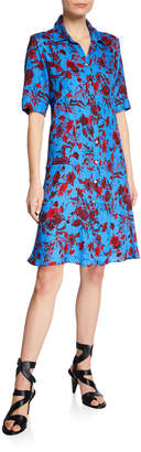 Derek Lam Short-Sleeve Nightshade Floral Shirtdress