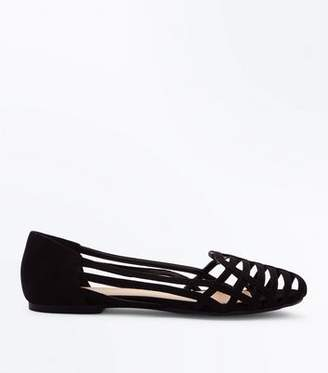 New Look Wide Fit Black Suedette Caged Pumps