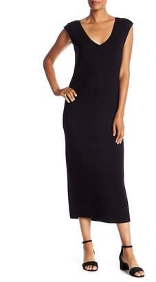 Joan Vass Cap Sleeve V-Neck Knit Dress