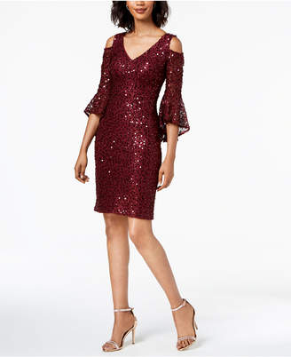 Night Way Nightway Sequined Lace Bell-Sleeve Dress