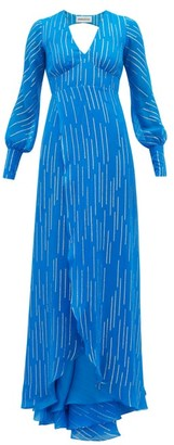 Adriana Iglesias Bellagio Striped Silk Blend Maxi Dress - Womens - Blue Multi