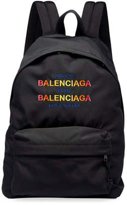 Balenciaga Men's Double-Logo Tri-City Backpack