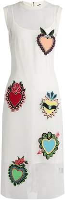 House of Holland Heart-appliqué mesh dress