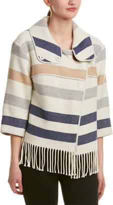 Karen Millen Striped Wool-Blend Poncho Cape
