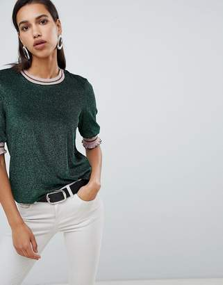 Vero Moda Glitter Knitted Top With Stripe Tipping
