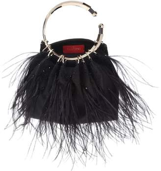 Valentino silk-blend feather clutch