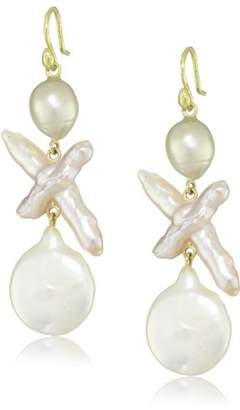 Gabrielle Sanchez 18k Yellow Gold and Freshwater Cultured Pearl Drop Earrings
