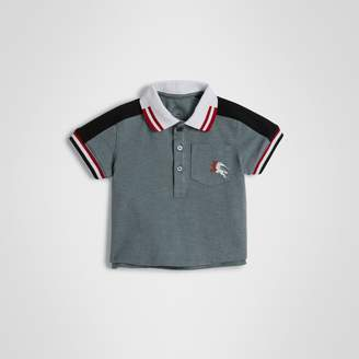 Burberry Stripe Detail Cotton Pique Polo Shirt , Size: 2Y