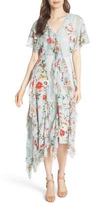 Alice + Olivia Kadence Ruffled Silk & Lace Midi Dress