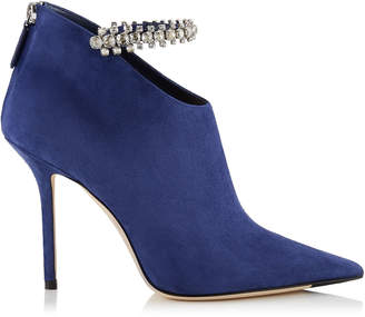 Jimmy Choo BLAIZE 100 Pop Blue Suede Booties with Crystal Strap