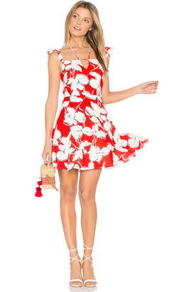 J.O.A. Flower Print Dress With Ruffle Shoulder $90 thestylecure.com