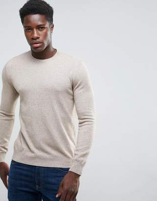 Benetton Cashmere Blend Jumper In Beige