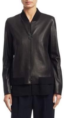Akris Punto Detatchable Hem Leather Bomber Jacket