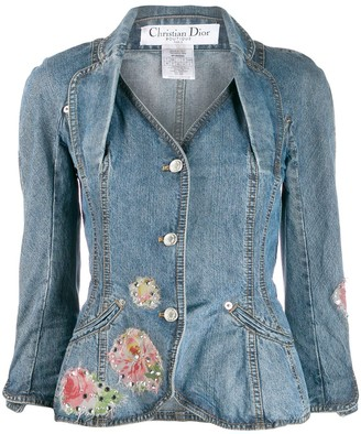 Christian Dior Pre-Owned embellished peplum denim jacket