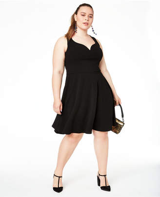 B. Darlin Trendy Plus Size Open-Back Fit & Flare Dress