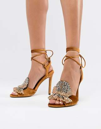 Asos DESIGN Harrison Embellished Block Heeled Sandals