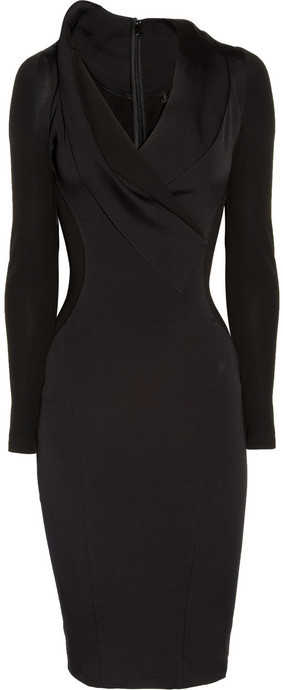 Donna Karan Stretch cotton-blend and stretch-crepe dress