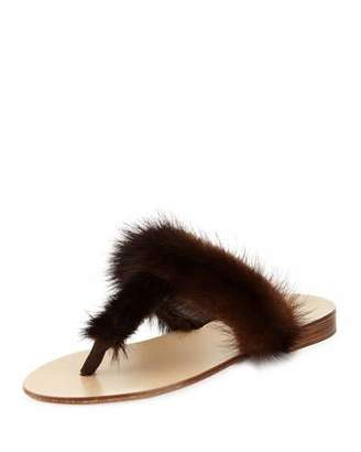 Jenni Kayne T-Strap Fur Flat Slide Sandal