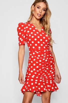 boohoo Polka Dot Ruched Front Woven Tea Dress