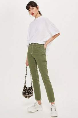 Topshop Khaki Clean Hem Straight Leg Jeans