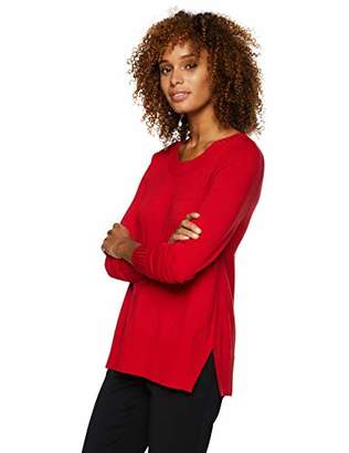 Lark & Ro Women's Long Sleeve Crewneck Side-Slit Sweater