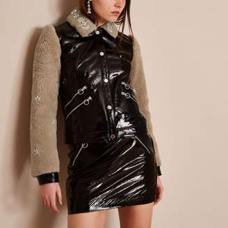 River Island Womens Black Holly Fulton vinyl leather borg jacket