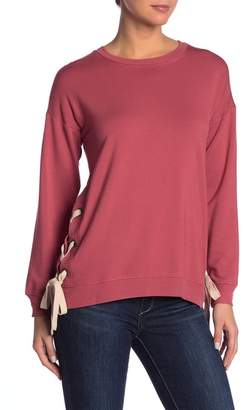 Kensie Lace-Up Crew Neck Sweater