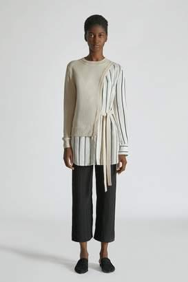 Yigal Azrouel Silk Cashmere Striped Wrap Sweater