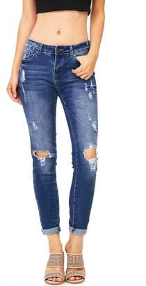 Wax Women's Juniors Mid Waist Stretchy Skinny Jeans