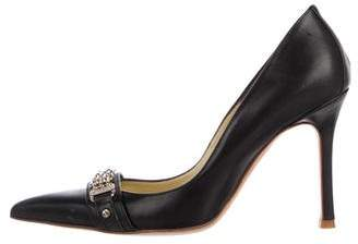 Versace Leather Pointed-Toe Pumps