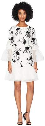 Marchesa 3/4 Sleeve All Over Beaded Tunic w/ 3D Flowers and Organza Ruffles Women's Dress