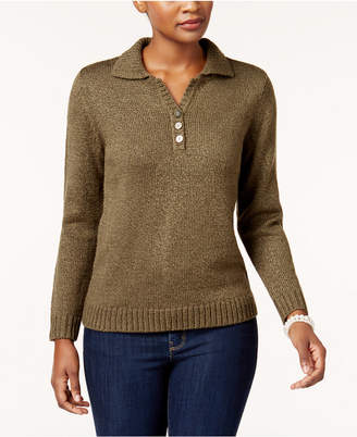 Karen Scott Petite Henley Sweater