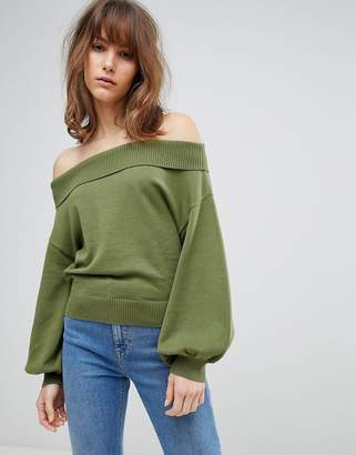 Asos DESIGN Sweater With Off Shoulder And Full Sleeve