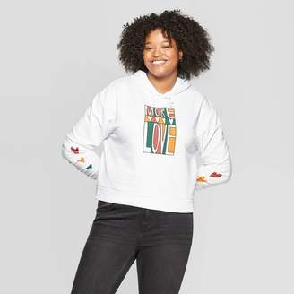Mad Engine Women's Plus Size Long Sleeve More Love Cropped Graphic Hoodie - Mighty Fine (Juniors') - White